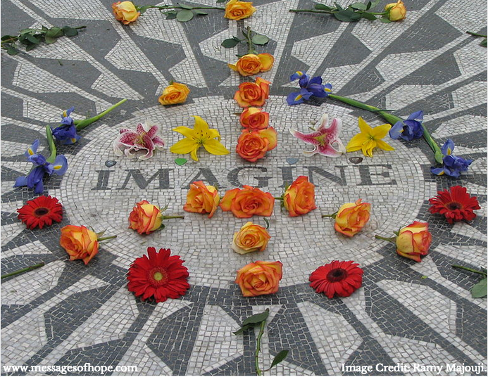 John Lennon Monument - NYC || Image Credit: Ramy Majouji || www.messagesofhope.com